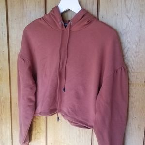 Burnt Orange Cropped Hoodie with Puff arms, sz L